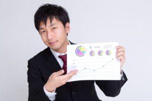 データを説明する男性